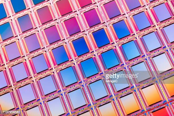 silicon wafer of camera cmos image sensors - image stock-fotos und bilder