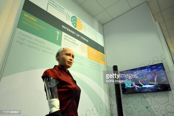 L´HOSPITALET CATALONIA SPAIN A silicone robot with 5G technology seen during the event at the Mobile World Congress in Barcelona