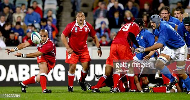 Sililo Marten scrumhalf for Tonga feeds out the ball Italy won 3612 in a hard fought game