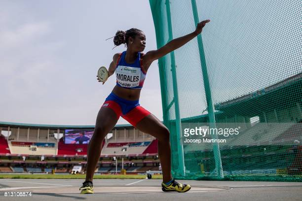 Silinda Morales of Cuba competes in the girls discus throw qualification during the IAAF U18 World Championships at Moi International Sports Centre...