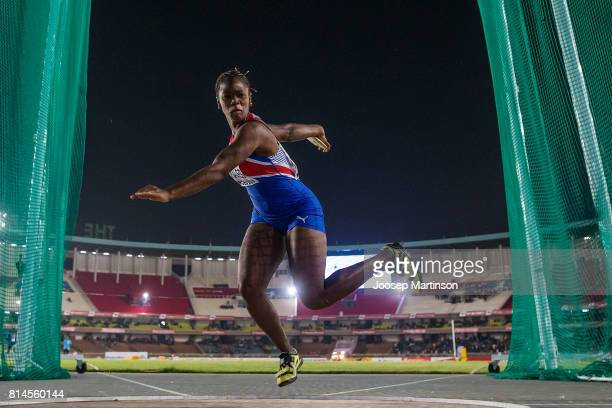 Silinda O Morales of Cuba competes in the girls discus throw final during day 3 of the IAAF U18 World Championships at Moi International Sports...