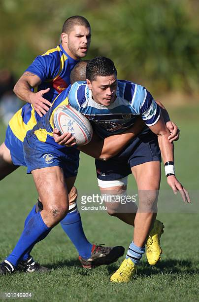 Silipa Tuigamala of the Leopards is tackled during the Fox Memorial Championship match between the Otahuhu Leopards and Howick Hornets at Paparoa...