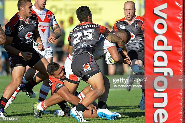 Siliva Havil of St George Illawarra on his way to scoring during the NRL Trial match between the New Zealand Warriors and the St George Illawarra...