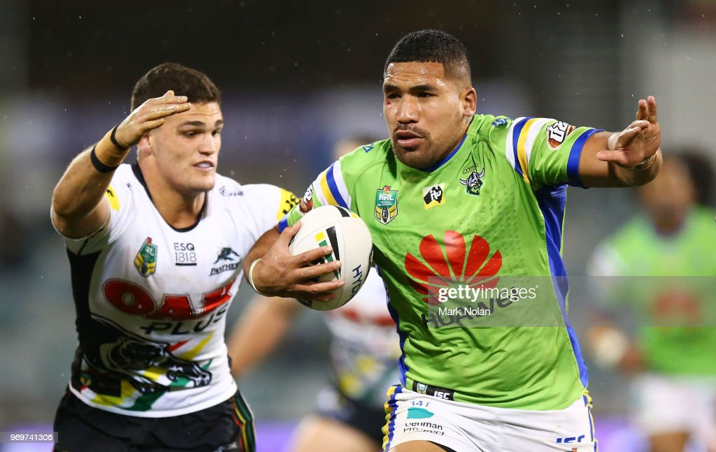 Siliva Havili of the Raiders runs the ball during the round 14 NRL match between the Canberra Raiders and the Penrith Panthers at GIO Stadium on June 8, 2018 in Canberra, Australia.