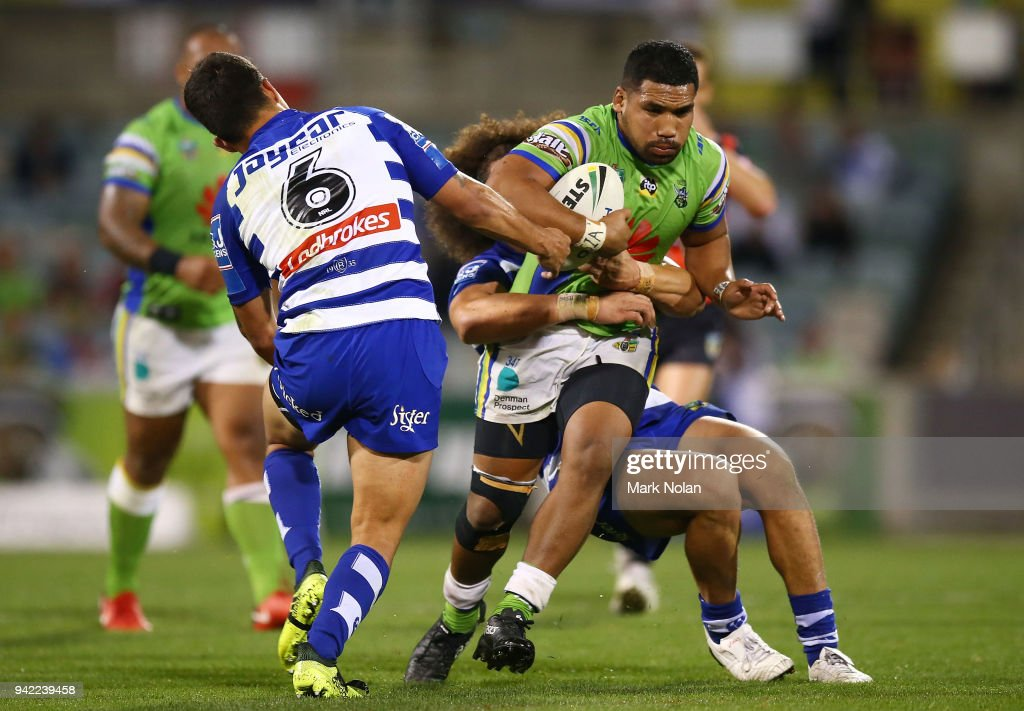 Siliva Havili of the Raiders runs the ball during the round five NRL match between the Canberra Raiders and the Canterbury Bulldogs at GIO Stadium on April 5, 2018 in Canberra, Australia.