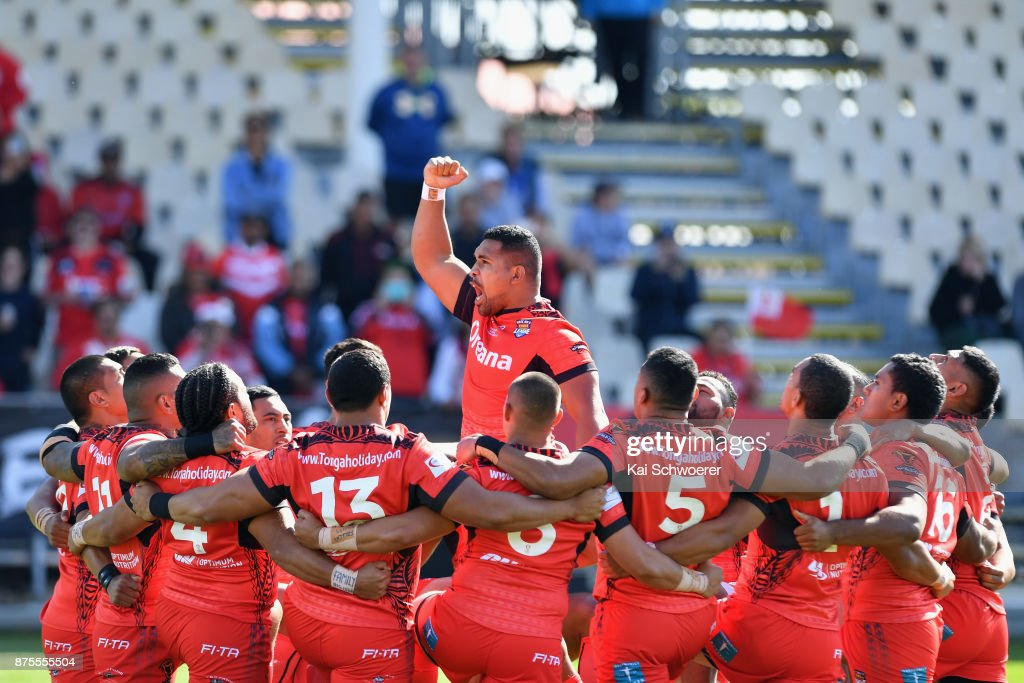 Siliva Havili of Tonga performs the Sipi Tau prior to the 2017 Rugby League World Cup Quarter Final match between Tonga and Lebanon at AMI Stadium on November 18, 2017 in Christchurch, New Zealand.