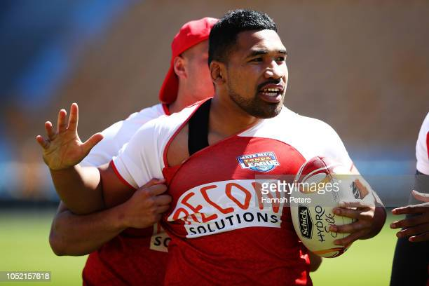 Siliva Havilli runs through drills during a Mate Ma'a Tonga Training Session at Mt Smart Stadium on October 15 2018 in Auckland New Zealand