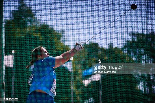 Silja Kosonen of Finland competes in the Women's Hammer Throw final during European Athletics U20 Championships Day 3 at Kadriorg Stadium on July 17,...