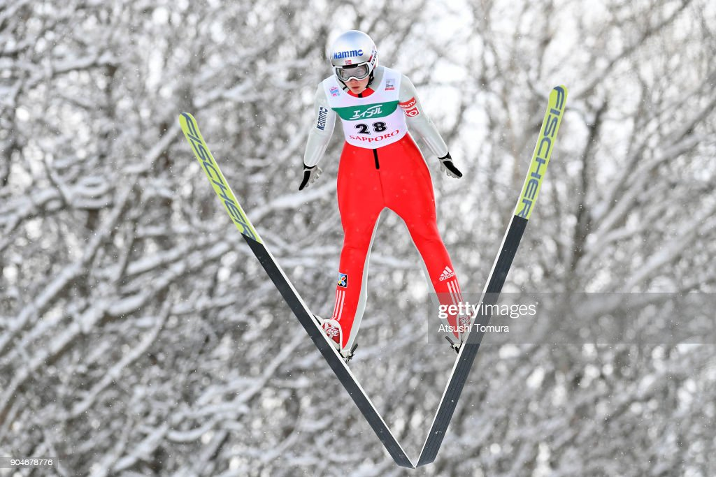 Silje Opseth of Norway competes in the Ladies normal hill individual during day two of the FIS Ski Jumping Women's World cup at Miyanomori Ski Jump Stadium on January 14, 2018 in Sapporo, Hokkaido, Japan.