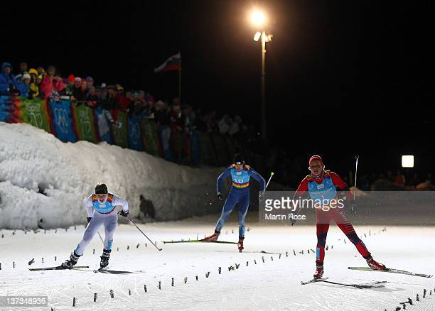 Silje Theodorsen of Norway skis in the Women's 1 km classic sprint Cross Country during the Winter Youth Olympic Games on January 19 2012 in Seefeld...