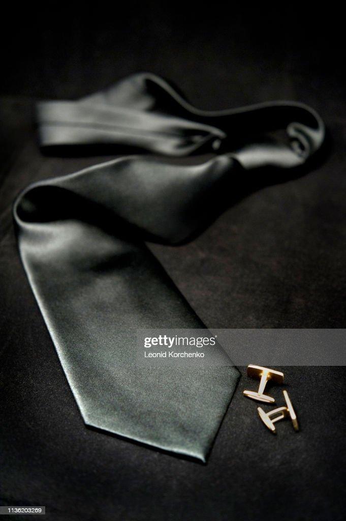 silk black tie : ストックフォト