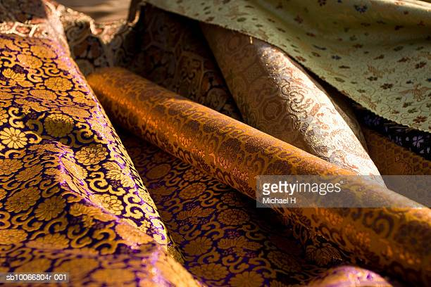 silk brocade, close-up - brocade stock pictures, royalty-free photos & images