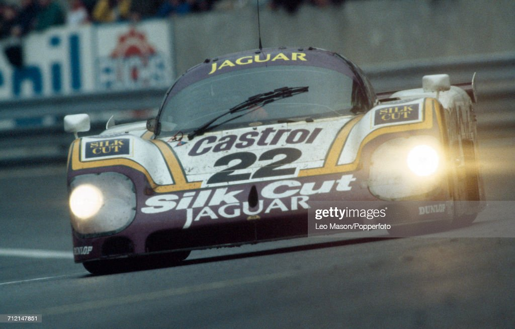 A Silk Cut Jaguar XJR-9LM 7.0L V12, driven to a 4th place finish by Derek Daly of Ireland, Kevin Cogan of United States and Larry Perkins of Australia for Tom Walkinshaw Racing, pictured in action during the FIA World Challenge for Endurance Drivers 24 Hours of Le Mans race on 12th June 1988 at the Circuit de la Sarthe in Le Mans, France.