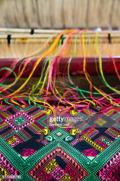 silk fabric in laos - loom stock pictures, royalty-free photos & images
