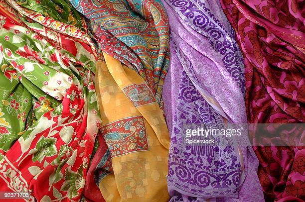 silk fabrics - headscarf stock pictures, royalty-free photos & images