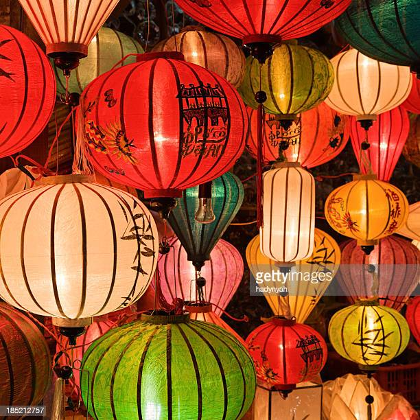 silk lanterns in hoi an city, vietnam - painting art product stock pictures, royalty-free photos & images