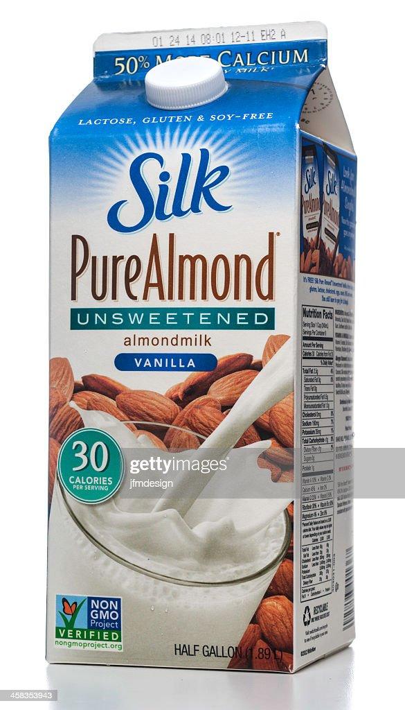 Silk Pure Almond Unsweeetened vanilla milk carton : Stock Photo