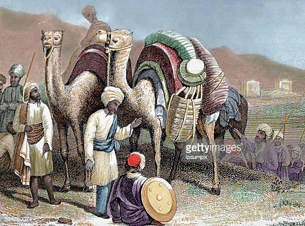 Silk Road Caravan of camels resting Antioch Nineteenthcentury colored engraving