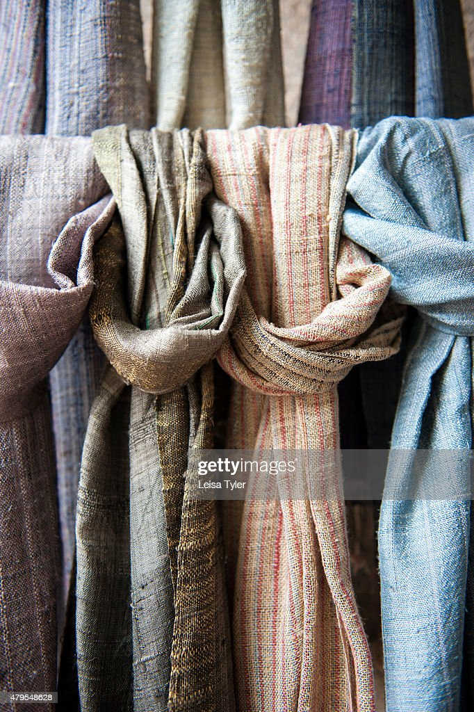Silk scarves at Saoban, a fair trade organization that works