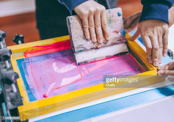 silk screen - printing press stock pictures, royalty-free photos & images