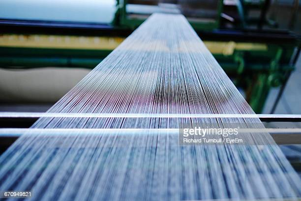 Silk Threads And Loom In Factory