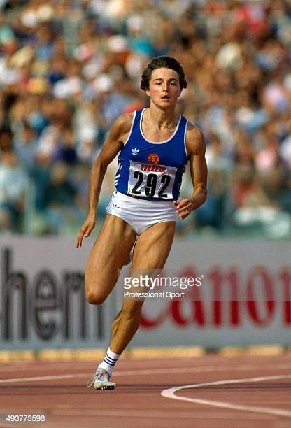 Silke Gladisch of East Germany en route to winning the women's 200 metres event during the World Athletics Championships in Rome circa 1987
