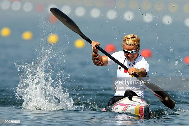 Silke Hormann of Germany competes in the Women's Kayak Single 200m Sprint semifinals on Day 14 of the London 2012 Olympic Games at Eton Dorney on...