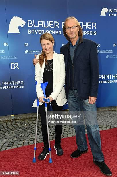 Silke Popp and Eisi Gulp arrive at the Bayerischer Fernsehpreis 2015 at Prinzregententheater on May 22 2015 in Munich Germany
