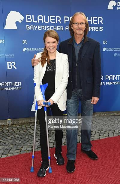 Silke Popp and Eisi Gulp arrive for the Bayerischer Fernsehpreis 2015 at Prinzregententheater on May 22 2015 in Munich Germany