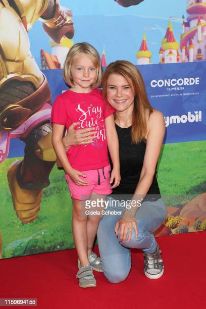 Silke Popp and her film daughter Mia Loeffler during the premiere of the movie Playmobil der Film at Mathaeser Filmpalast on August 4 2019 in Munich...