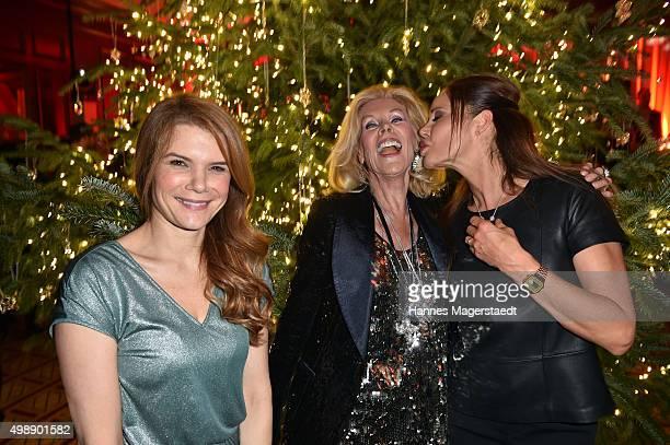 Silke Popp Birgit Bergen and Doreen Dietel during a christmas party at Hotel Vier Jahreszeiten Kempinski on November 26 2015 in Munich Germany