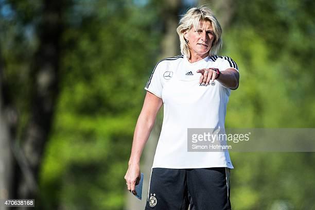 Silke Rottenberg gestures a MFFC Wiesbaden Goalkeeping Training Session on April 21 2015 in Wiesbaden Germany