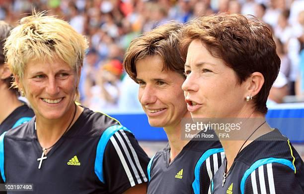 Silke Rottenberg goalkeeper coach Bettina Wiegmann assistant coach and Maren Meinert head coach of Germany look on the 2010 FIFA Women's World Cup...