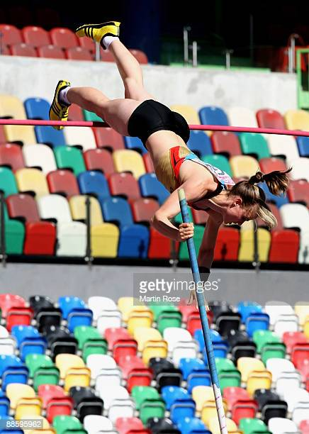 Silke Spiegelburg of Germany competes during the women's 100m pole vault during day one at the Spar European Team Championship at the Estadio...
