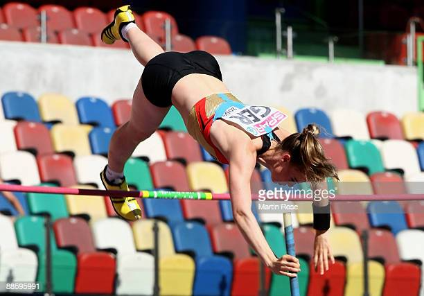 Silke Spiegelburg of Germany competes during the women's pole vault during day one at the Spar European Team Championship at the Estadio Municipal...