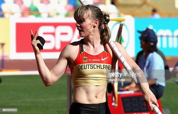 Silke Spiegelburg of Germany gestures during the women's pole vault during day one of the Spar European Team Championship at the Estadio Municipal...