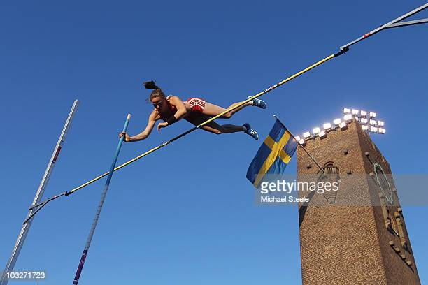 Silke Spiegelburg of Germany in the women's pole vault during the IAAF Diamond League meeting at the Olympic Stadium on August 6 2010 in Stockholm...