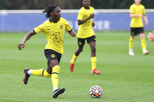 Silko Thomas of Chelsea runs with the ball during the Leicester City v Chelsea U18 Premier League match on September 25, 2021 in Loughborough,...