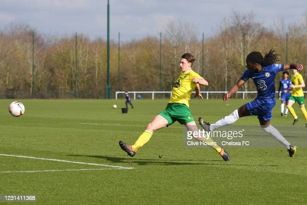 Silko Thomas of Chelsea shoots for goal during the Norwich City v Chelsea U18 Premier League match on February 27, 2021 in Norwich, England.