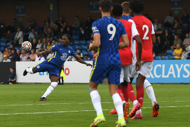 Silko Thomas of Chelsea volleys the ball during the Chelsea v Arsenal Premier League 2 match on September 19, 2021 in London, England.