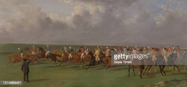 Silks and Satins of the Turf, Benjamin Herring, 1830–1871, British Oil on panel, Support : 20 x 43 1/2 inches , breeches, bridle, course,...