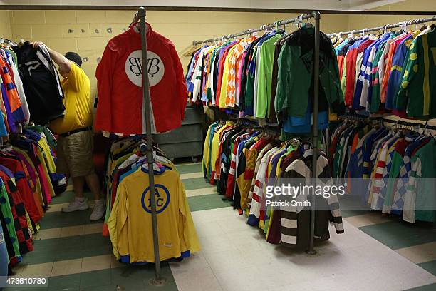 Silks hang in the jockeys room prior a race to the 140th running of the Preakness Stakes at Pimlico Race Course on May 16 2015 in Baltimore Maryland