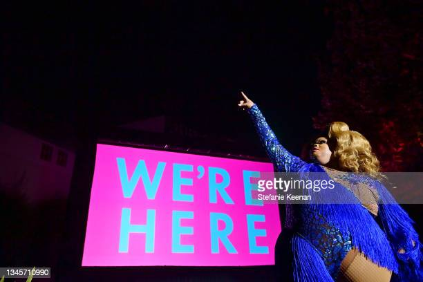 """Silky Nutmeg Ganache performs onstage during the """"We're Here"""" Season 2 Premiere at Sony Pictures Studios on October 08, 2021 in Culver City,..."""