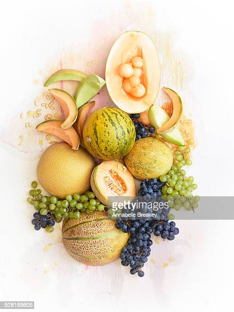 sill life of fresh melons and grapes - muskmelon stock pictures, royalty-free photos & images