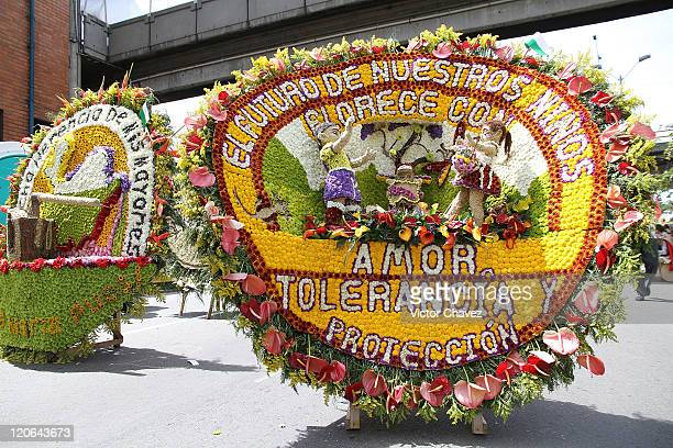Silleta is a flower arrangement and are part of the traditional 54th Desfile de Silleteros during the Feria De Flores 2011 at Guayaquil Bridge on...