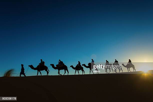 Sillhouette of camel caravan going through the desert at sunset.
