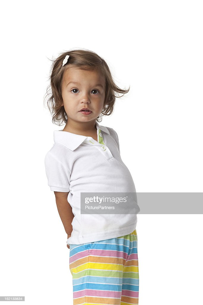 Silly looking toddler girl : Stock Photo