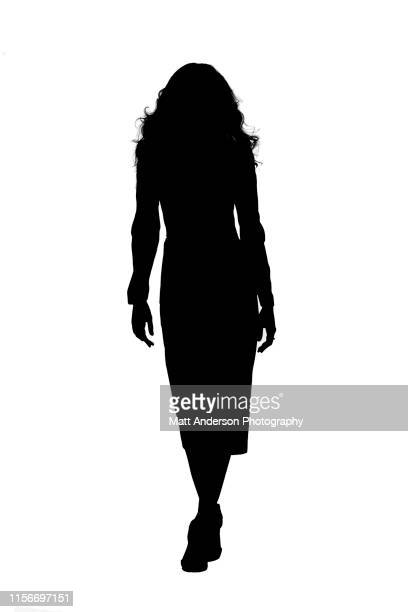 silo front left foot forward - silhueta de corpo feminino preto e branco imagens e fotografias de stock