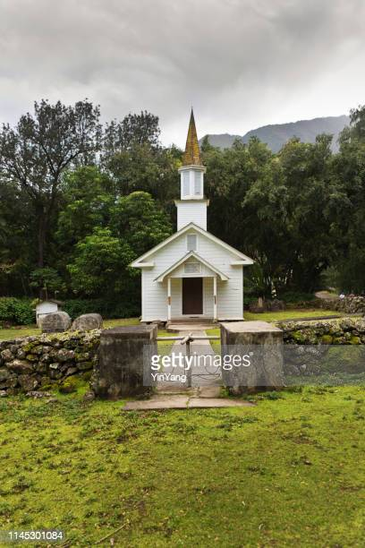 siloama, the church of the healing spring in kalaupapa, molokai, hawaii - religious service stock pictures, royalty-free photos & images