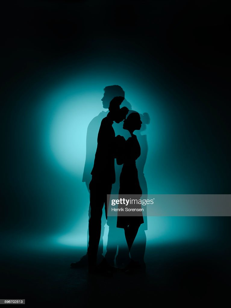 siloette double exposure of couple : Stock Photo